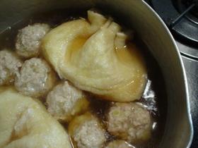 ☆卵入り揚げ巾着と鶏だんごの煮物