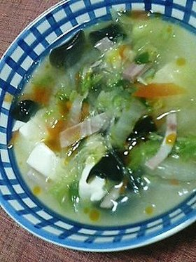 白菜サラダがスープになっちゃった~!
