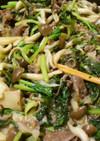 牛肉とキノコの甘辛醤油麹炒め