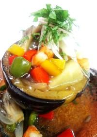 米茄子の夏野菜餡