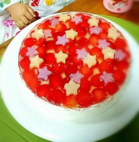 七夕デザートさくらんぼのヨーグルトケーキ