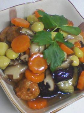 揚げ茄子と肉団子の野菜あんかけ