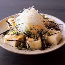 揚げ豆腐の白髪ねぎたっぷりサラダ