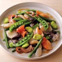 そら豆、きぬさや、いんげん、スナックえんどう、貝寄せサラダ