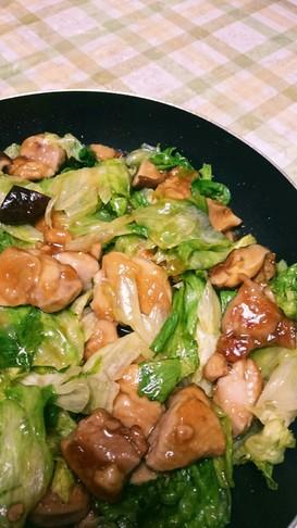 ご飯に合う!鶏もも肉とレタスの甘辛炒め☆