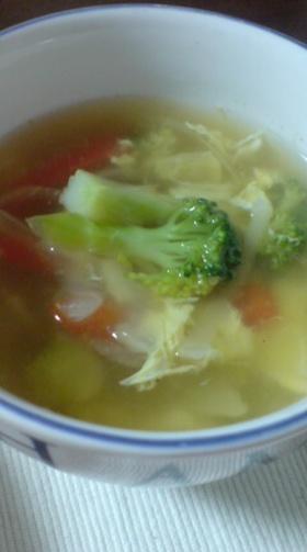 野菜スープ@コンソメと中華スープのコラボ