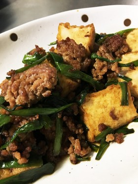 ニラと厚揚げ、ひき肉のオイスター炒め。