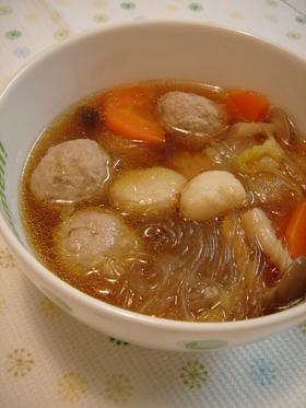 にんにくほくほく♥肉団子と春雨のスープ