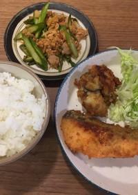 サッカー飯!鮭と牡蠣のチーズフライ