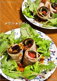 レンジでチン♪トマトの豚茄子巻き中華風