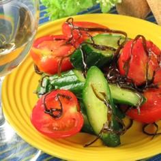 超簡単!キュウリとトマトの塩昆布サラダ