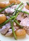 胸肉とアスパラとじゃが芋の塩にんにく炒め