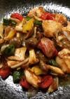 鶏胸肉と野菜の黒酢生姜炒め