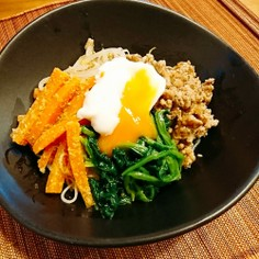 素麺アレンジ 栄養満点素麺ビビンバ