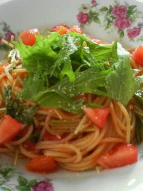 水菜とトマトのシンプルスパゲティー