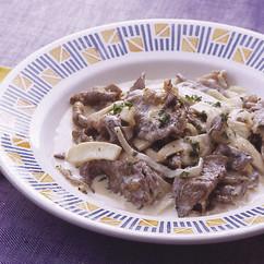 牛肉とエリンギのクリーム煮