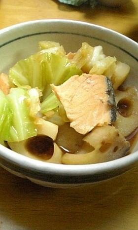 余った塩鮭とキャベツと蓮根の簡単甘味噌煮