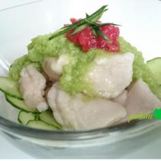 夏!胸肉つるぷる水晶鶏をおろし胡瓜と梅で