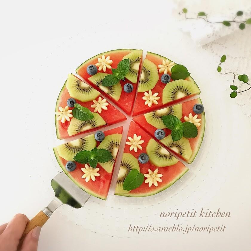 夏にぴったり!簡単デザート♡スイカピザ♡