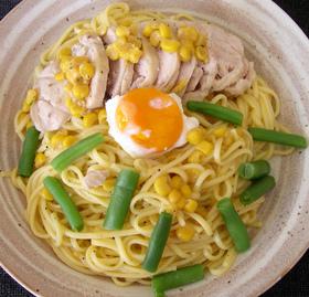 鶏むね肉と温玉のヘルシークリームパスタ★
