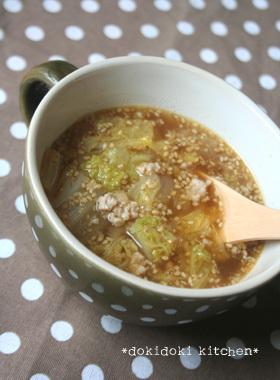 白菜と豚ひき肉のピリ辛中華スープ