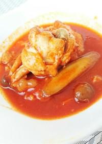 圧力鍋で鶏肉とごぼうのトマトジュース煮