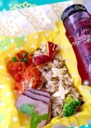 タンドリーチキン、紅茶煮豚、高菜ご飯