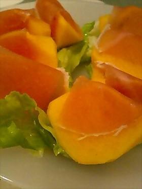 柿と生ハムのオードブル