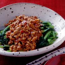 小松菜の豚肉炒めかけ