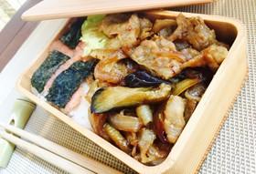ナスともち豚の生姜焼き♡10分弁当