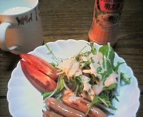 水菜と大根のサラダを明太子ドレッシングで