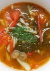 ランチに♪トマトともずくのきのこのスープ