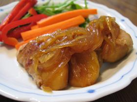 甘辛醤油で豚リンゴ