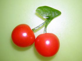 お弁当・プチトマトでさくらんぼ♪