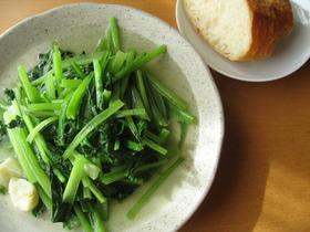 簡単☆小松菜のオリーブオイル炒め