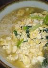 小松菜豆腐溶き卵かけ温そうめん