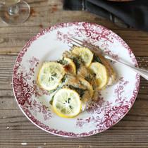 あじと大葉とレモンのパン粉焼き
