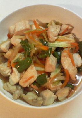 とり胸肉と野菜の炒め物
