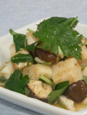 帆立と山芋と椎茸の柚子わさび醤油和え