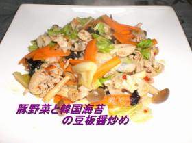豚野菜と韓国海苔の豆板醤炒め