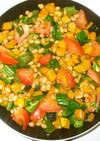 水煮大豆と夏野菜の炒め物♪南瓜+トマト