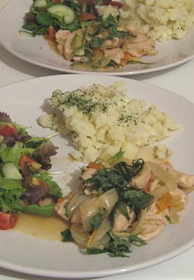 鳥胸肉と野菜煮込みポン酢仕上げ
