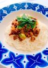 挽肉とズッキーニのカレー風混ぜ素麺