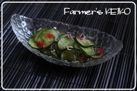 きゅうりとカリカリ梅の酢の物