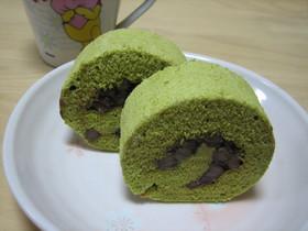 あずきを巻いて♡お茶のミニロールケーキ