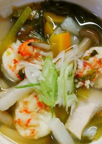 簡単♪海老と長芋と小松菜の具沢山スープ