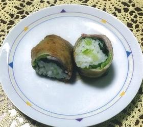 広島菜の肉巻きおにぎり
