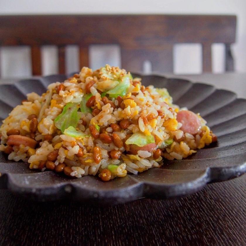 納豆レタス炒飯