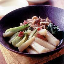 豚バラ肉+長いも+青梗菜の煮もの