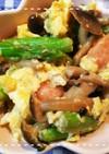 めんつゆで簡単!アスパラとしめじの卵炒め